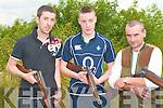 Members of the Glen Gun Club at the Knocknagoshel shooting grounds on Saturday l-r: Kieran O'Donoghue, Jamie Lawlor and Gerard Lawlor.