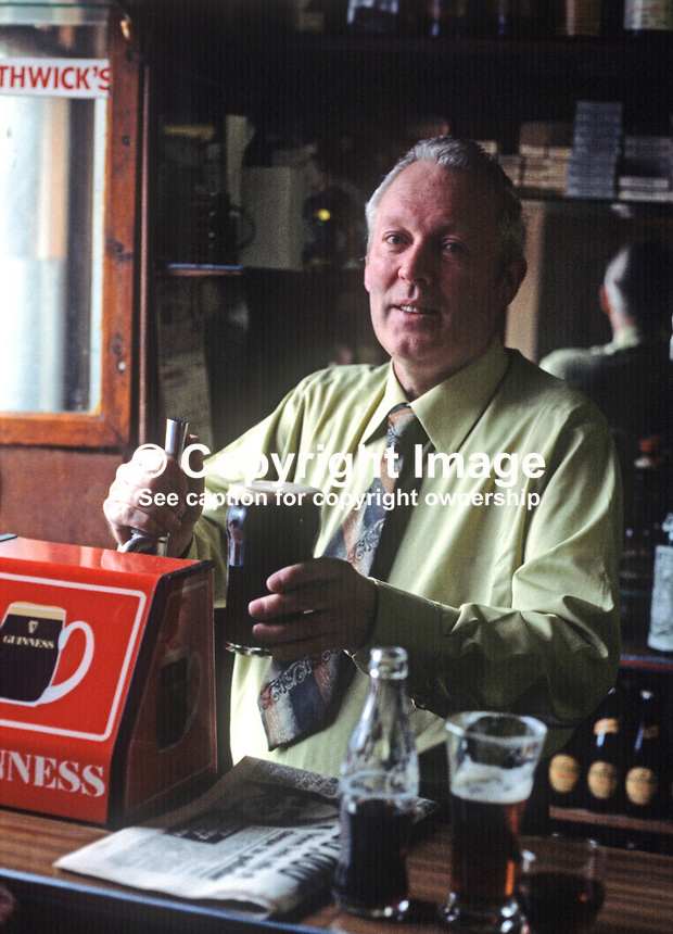 Frank Maguire, Independent Nationalist MP, Fermanagh & South Tyrone, in the UK Parliament in London, is also a publican in the small market town of Lisnaskea, Co Fermanagh. 197211000326d..Copyright Image from Victor Patterson, 54 Dorchester Park, Belfast, UK, BT9 6RJ..Tel: +44 28 9066 1296.Mob: +44 7802 353836.Voicemail +44 20 8816 7153.Skype: victorpattersonbelfast.Email: victorpatterson@mac.com.Email: victorpatterson@ireland.com (back-up)..IMPORTANT: If you wish to use this image or any other of my images please go to www.victorpatterson.com and click on the Terms & Conditions. Then contact me by email or phone with the reference number(s) of the image(s) concerned.