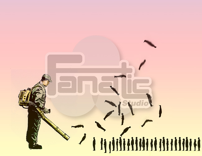 Concept of a man with a leaf blower blowing away people depicting disposable people