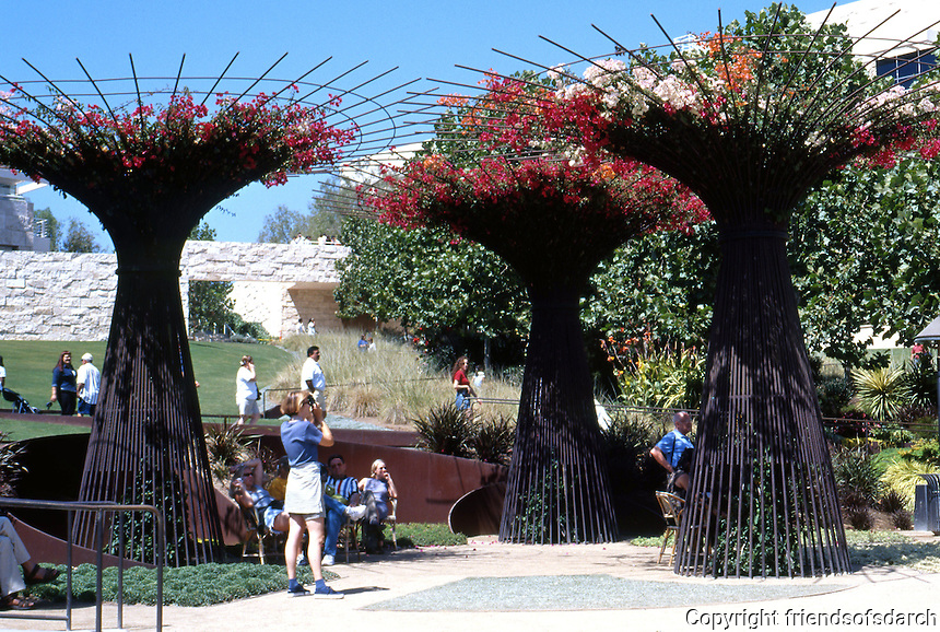Richard Meier: Getty Center. The Garden. Robert Irwin used rebar for flower trellises.  Photo '99.