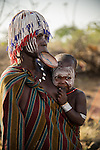 Unidentified woman from the Mursi Tribe in traditional clothing in Omo Valley, Ethiopia.