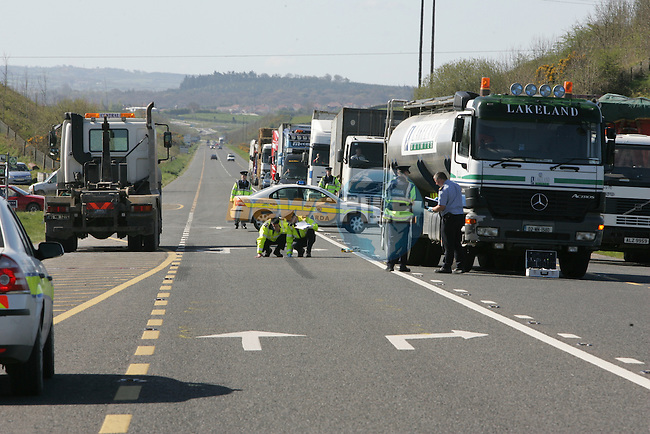 The Main Road between Carrickmacross and Castleblaney was closed after the fatal accident of a lorry driver shortly after 8 am on Wednesday Morning. Its believed that the the man killed had left his lorry to cross the road to a colleague when he was hit by an oncoming lorry..Photo: Fran Caffrey/ Newsfile.
