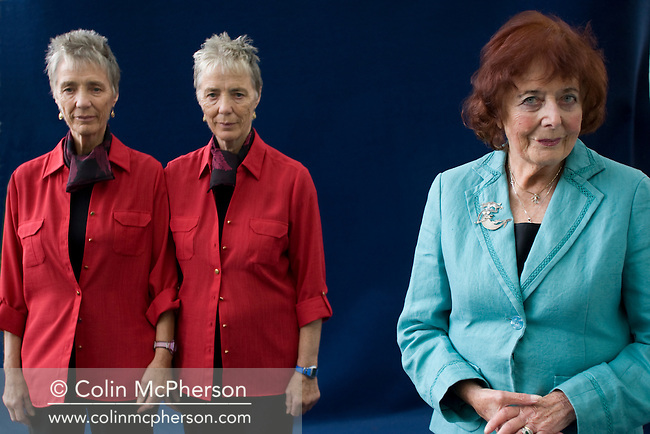 Acclaimed Scottish crime writer Alanna Knight and her prodigies, identical twins  Helen and Morna Mukgray,  pictured at the Edinburgh International Book Festival where she talked about their work. The three-week event is the world's biggest literary festival and is held during the annual Edinburgh Festival. 2008 was the Book Festival's 25th anniversary and featured talks and presentations by more than 500 authors from around the world.