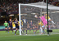 August 03, 2012 -  Japan's Miho Fukumoto saves an attack by Brazil during Group F match between JPN and BRA at the Millennium Stadium. .