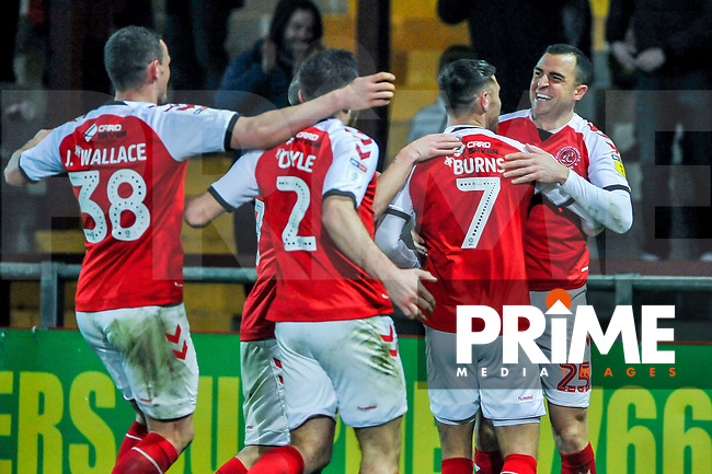 Fleetwood Town celebrate the opening goal with scorer Fleetwood Town's midfielder Dean Marney (25) during the Sky Bet League 1 match between Fleetwood Town and Coventry City at Highbury Stadium, Fleetwood, England on 27 November 2018. Photo by Stephen Buckley / PRiME Media Images.