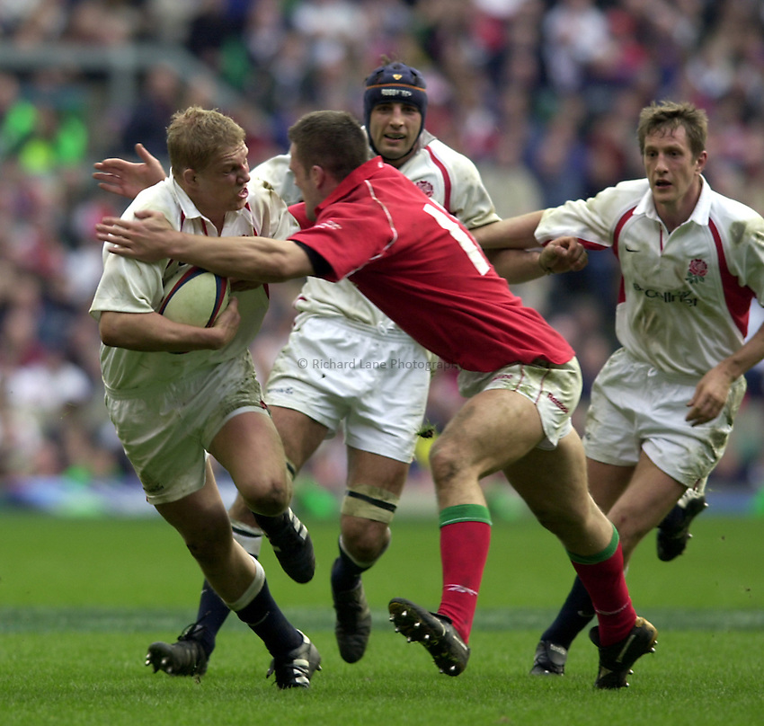 Photo. Richard Lane.Lloyds TSB Six Nations Championship. England v Wales at Twickenham. 23-3-2002.Lewis Moody attacks.