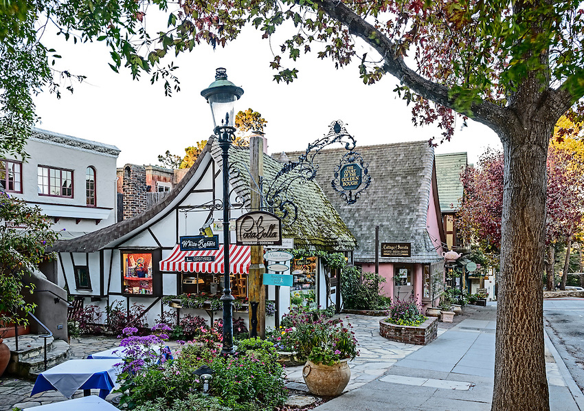 Street scene, Carmel, at sunrise on a Sunday morning