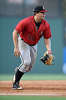 Third baseman Jake Burger (31) of the Kannapolis Intimidators plays defense in a game against the Greenville Drive on Wednesday, July 12, 2017, at Fluor Field at the West End in Greenville, South Carolina. Greenville won, 12-2. (Tom Priddy/Four Seam Images)