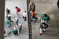 MOSCOW, RUSSIA - June 17, 2018: Fans walk up the stairs before the 2018 FIFA World Cup group stage match between Germany and Mexico at Luzhniki Stadium.