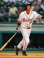 4 June 2007: Chih-Hsien Chiang of the Greenville Drive, Class A South Atlantic League affiliate of the Boston Red Sox, in a game against the Kannapolis Intimidators at West End Field in Greenville, S.C. Photo by:  Tom Priddy/Four Seam Images