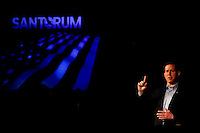 Republican presidential candidate and former Pennsylvania Senator Rick Santorum speaks to a crowd of supporters at New Life Assembly Church in Spokane Valley, Washington on March 1, 2012.