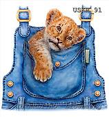 Kayomi, CUTE ANIMALS, paintings, LionCubOverall_M, USKH91,#AC# illustrations, pinturas ,everyday