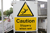 Caution Slippery When Wet signage during Essex CCC vs Somerset CCC, Specsavers County Championship Division 1 Cricket at The Cloudfm County Ground on 30th August 2017