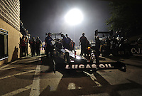 Jun. 29, 2012; Joliet, IL, USA: Crew members surround the car of NHRA top fuel dragster driver Brandon Bernstein during qualifying for the Route 66 Nationals at Route 66 Raceway. Mandatory Credit: Mark J. Rebilas-