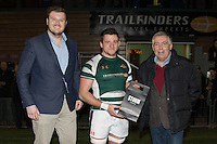Arthur Ellis of Ealing Trailfinders (centre) receives the man of the match award during the Greene King IPA Championship match between Ealing Trailfinders and London Welsh RFC at Castle Bar , West Ealing , England  on 26 November 2016. Photo by David Horn / PRiME Media Images