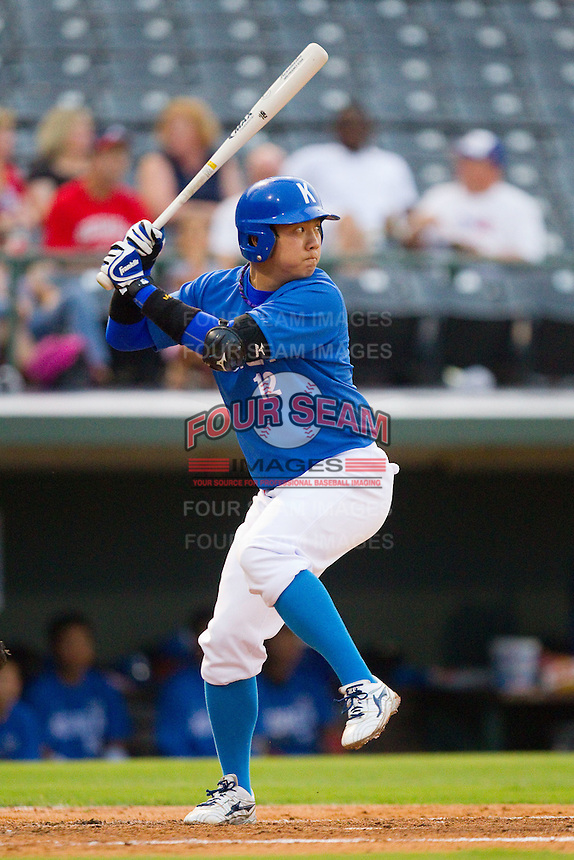Youn-Joon Cho #12 of Team Korea at bat against Team USA at Knights Stadium July 16, 2010, in Fort Mill, South Carolina.  Photo by Brian Westerholt / Four Seam Images