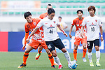 Urawa Reds Defender Moriwaki Ryota (C) fights for the ball with Jeju United Forward Hwang Ilsu (L) during the AFC Champions League 2017 Round of 16 match between Jeju United FC (KOR) vs Urawa Red Diamonds (JPN) at the Jeju Sports Complex on 24 May 2017 in Jeju, South Korea. Photo by Yu Chun Christopher Wong / Power Sport Images