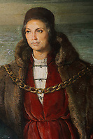 Portrait of Christopher Columbus from the painting of Diego Colon with his father Christopher Colombus, detail, oil painting, 1957, by Rafael Pellicer, 1906-63, in Diego Colon's office, in the Alcazar de Colon, or Columbus Alcazar, built 1510-12 in Gothic Mudejar style, under Diego Colon, son of Christopher Columbus, who was 4th Governor of the Indies, in the Colonial Zone of Santo Domingo, capital of the Dominican Republic, in the Caribbean. The building houses the Museo Alcazar de Diego Colon, displaying Gothic and Renaissance European art. Santo Domingo's Colonial Zone is listed as a UNESCO World Heritage Site. Picture by Manuel Cohen