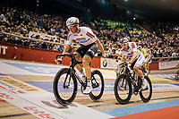 Madison World Champions Roger Kluge (DEU/Lotto-Soudal) & Theo Reinhardt (DEU) with a relay<br /> <br /> zesdaagse Gent 2019 - 2019 Ghent 6 (BEL)<br /> day 2<br /> <br /> ©kramon