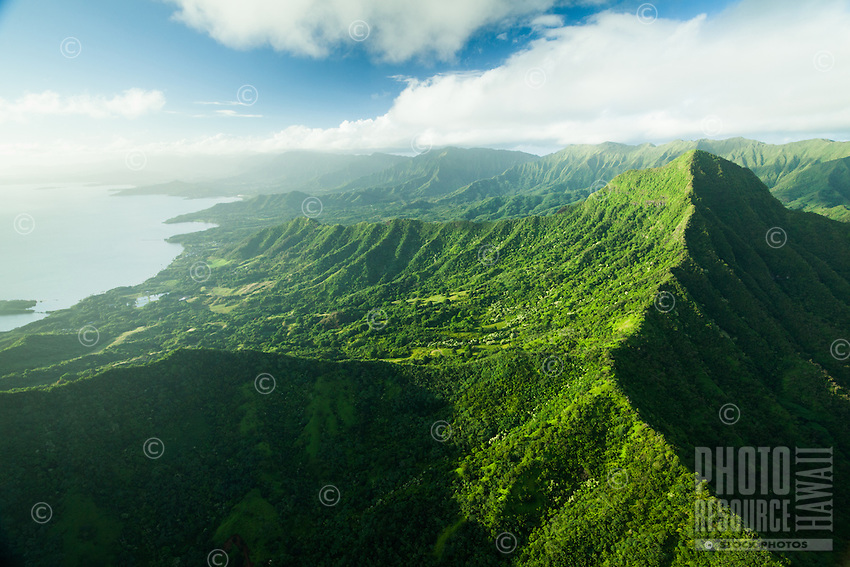 An aerial view of Kane'ohe Bay on the left, with the back of Ka'a'awa Valley in the foreground, Windward O'ahu.