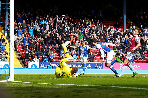 April 29th 2017, Blackburn, Lancashire, England;  Skybet Championship football, Blackburn Rovers versus Aston Villa; Danny Graham of Blackburn Rovers wheels away in celebration after scoring the opening goal in the 54th minute