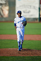 Ogden Raptors starting pitcher Adalberto Pena (40) looks to the plate against the Orem Owlz in Pioneer League action at Lindquist Field on June 21, 2017 in Ogden, Utah. The Owlz defeated the Raptors 16-5. This was Opening Night at home for the Raptors.  (Stephen Smith/Four Seam Images)