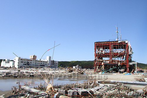 May 18, 2011; Minamisanriku, Miyagi Pref., Japan - Only the steel frame of Minamisanriku's Bousai Taisaku Chousha (Crisis Management Department) is left standing after the magnitude 9.0 Great East Japan Earthquake and Tsunami that devastated the Tohoku region of Japan on March 11, 2011...It is believed that only 10 people, including the city's mayor, out of the 130 workers in the building survived the tsunami.
