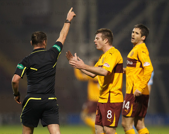 Steve Jennings shown a straight red card by ref Stevie O'Reilly after questioning a Motherwell penalty claim