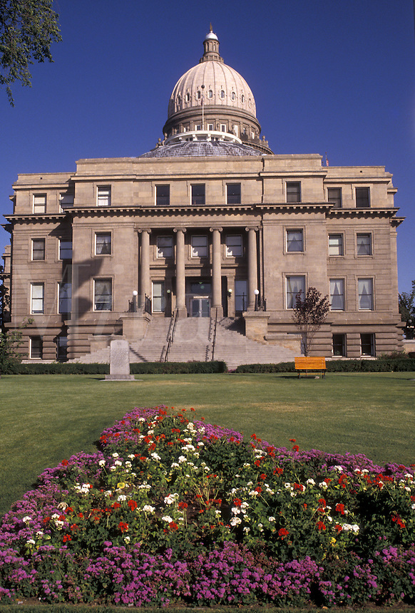 AJ3595, Boise, State Capitol, State House, Idaho, The rear of the State Capitol building in the capital city of Boise in the state of Idaho.