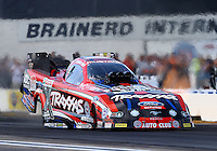 Aug. 16, 2013; Brainerd, MN, USA: NHRA funny car driver Courtney Force during qualifying for the Lucas Oil Nationals at Brainerd International Raceway. Mandatory Credit: Mark J. Rebilas-