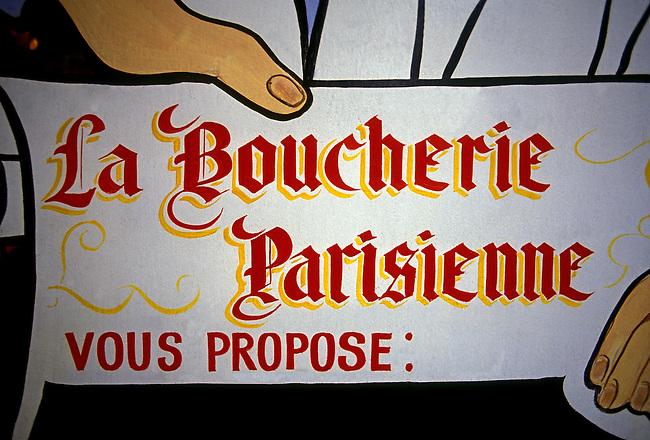 Sign butcher shop, boucherie, town of Poissy, Ile de France region, France, Europe