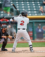 Carlos Asuaje (2) of the El Paso Chihuahuas at bat against the Salt Lake Bees in Pacific Coast League action at Smith's Ballpark on April 30, 2017 in Salt Lake City, Utah. El Paso defeated Salt Lake 12-3. This was Game 2 of a double-header originally scheduled on April 28, 2017.  (Stephen Smith/Four Seam Images)