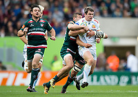 Ian Whitten of Exeter Chiefs is tackled in possession. Aviva Premiership match, between Leicester Tigers and Exeter Chiefs on September 30, 2017 at Welford Road in Leicester, England. Photo by: Patrick Khachfe / JMP
