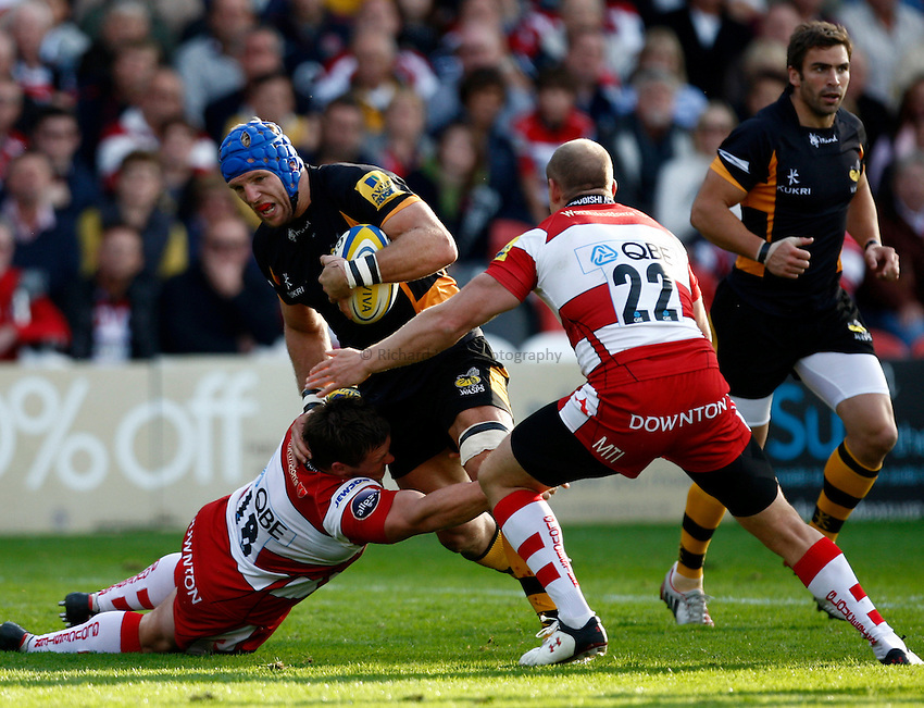 Photo: Richard Lane/Richard Lane Photography. Gloucester Rugby v London Wasps. Aviva Premiership. 22/09/2012. Wasps' James Haskell attacks.