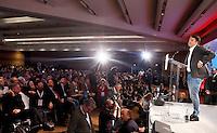 Il candidato segretario alle elezioni primarie del Partito Democratico Matteo Renzi parla alla Convenzione Nazionale del partito a Roma, 24 novembre 2013. In basso a sinistra gli sfidanti Gianni Cuperlo e Giuseppe Civati.<br /> Italian center-left Democratic Party's candidate secretary at the upcoming primary elections Matteo Renzi speaks during the party's National Convention in Rome, 24 November 2013. At bottom, from left, challengers  Gianni Cuperlo and Giuseppe Civati.<br /> UPDATE IMAGES PRESS/Riccardo De Luca