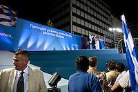 Elezioni in Grecia. Atene, manifestazione conclusiva di Nea Democratia in Piazza Sintagma 15 giugno 2012. Antonis Samaras, leader del partito parla dal palco.