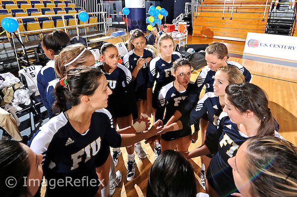 13 November 2010:  FIU's team gathers prior to the game.  The FIU Golden Panthers defeated the South Alabama Jaguars, 3-0 (25-12, 25-12, 25-20), at U.S Century Bank Arena in Miami, Florida.