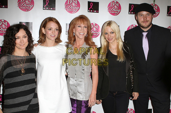 """SARA GILBERT, JAYMA MAYS, KATHY GRIFFIN, ANNA FARIS & CHRIS PRATT.8th Annual """"Best In Drag"""" AIDS Fundraiser held at The Orpheum Theatre, Los Angeles, CA, USA..October 24th, 2010.half length black shoes white dress purple trousers grey gray top silk satin suit hat couple striped stripes.CAP/ADM/KB.©Kevan Brooks/AdMedia/Capital Pictures."""