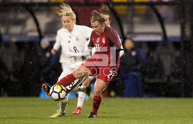 Columbus, Ohio - Thursday March 01, 2018: Savannah McCaskill during a 2018 SheBelieves Cup match between the women's national teams of the United States (USA) and Germany (GER) at MAPFRE Stadium.
