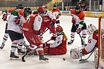 03.01.2020, BLZ Arena, Füssen / Fuessen, GER, IIHF Ice Hockey U18 Women's World Championship DIV I Group A, <br /> Daenemark (DEN) vs Ungarn (HUN), <br /> im Bild Imola Horvath (HUN, #22), Sofie Damgaard (DEN, #11), Laerke Sondergaard (DEN, #6), Emma-Sofie Nordstrom (DEN, #25) sichert den Puck<br /> <br /> Foto © nordphoto / Hafner