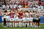 09.06.2019 England v Scotland Women: Phil Neville with his England team at full time