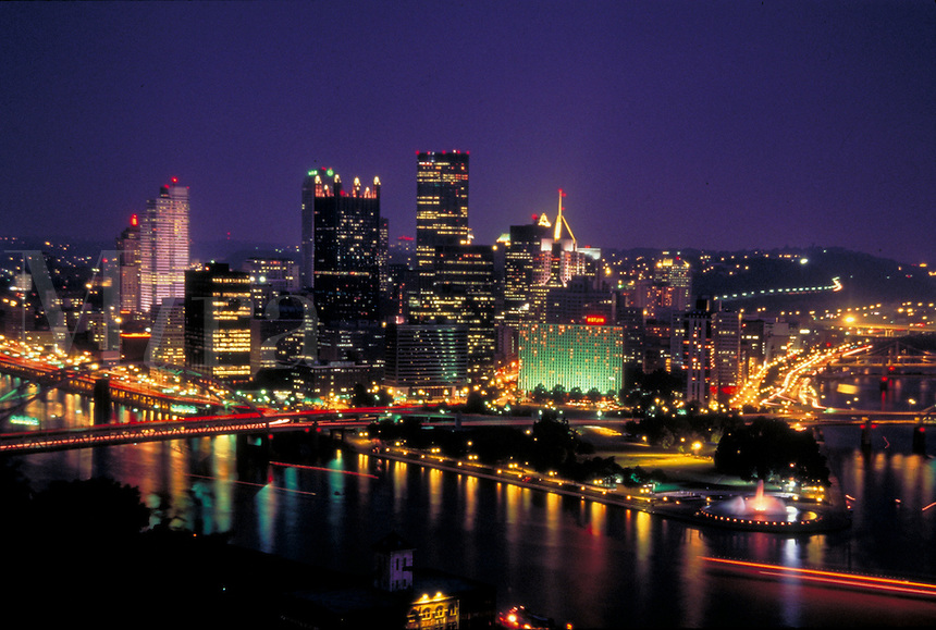 Night lights and reflections on the three rivers make Pittsburgh one of the most beautiful United States skylines. Pittsburgh Pennsylvania United States Night skyline.