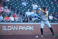 Glendale Desert Dogs right fielder Logan Hill (37), of the Pittsburgh Pirates organization, on deck during an Arizona Fall League game against the Mesa Solar Sox on October 28, 2017 at Sloan Park in Mesa, Arizona. The Solar Sox defeated the Desert Dogs 9-6. (Zachary Lucy/Four Seam Images)