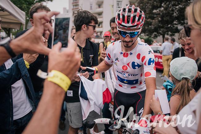 Polka Dot Jersey / KOM winner Julian Alaphilippe (FRA/Quick-Step Floors) is extremely popular amongst the french crowd<br /> <br /> Stage 21: Houilles > Paris / Champs-Élysées (115km)<br /> <br /> 105th Tour de France 2018<br /> ©kramon