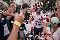 Polka Dot Jersey / KOM winner Julian Alaphilippe (FRA/Quick-Step Floors) is extremely popular amongst the french crowd<br /> <br /> Stage 21: Houilles > Paris / Champs-Élysées (115km)<br /> <br /> 105th Tour de France 2018<br /> ©kramon