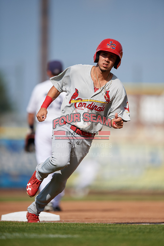 Johnson City Cardinals center fielder Jonatan Machado (51) rounds third base during the first game of a doubleheader against the Princeton Rays on August 17, 2018 at Hunnicutt Field in Princeton, Virginia.  Johnson City defeated Princeton 6-4.  (Mike Janes/Four Seam Images)