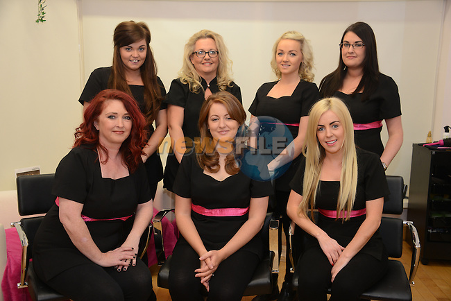 Staff and management at Glow Hairdressers  - back row from left: Louise McNabb, Susan O'Reilly, Laura Hopkins and Niamh Kennedy. Front row: Lorraine Bohan, Sarah Healy (proprietor) and Shauna McQuillan (Manager).