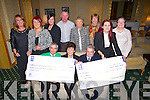 DOUBLE: Cheques were presented to representives of The Palliative Care Unit KG & Motorneurone Disease on Saturday from the O'Sullivan Family the money was raises at Fashion Shw function and Dance in the Brandon Hotel, Tralee, presenteing the cheque was Helen O'Sullivan. Front l-r: Tracy O'Sullivan, Christy Lehane (IMNA), Helen O'Sullivan, Ted Moynihan (KHF) and Lorraine Williams-O'Sullivan. Back l-r: Eileen Whelan, Elizabeth O'Sullivan-Akinyemi, Dan Galvin, Stella Boyle (KHF), Eileen Kelliher,Mary Leahane.