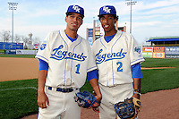 Lexington Legends shortstops Humberto Arteaga #1 and Raul Mondesi #2 pose for a photo before a game against the Greenville Drive on April 18, 2013 at Whitaker Bank Ballpark in Lexington, Kentucky.  Lexington defeated Greenville 12-3.  (Mike Janes/Four Seam Images)
