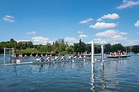 "Henley on Thames, United Kingdom, 22nd June 2018, Friday,   ""Henley Women's Regatta"",  view,  A Heat of the ""Aspirational Academic 8+', get's underway between,  ""Rhode island  University"", USA, nearside, and, ""Edinburgh  University"", Henley Reach, River Thames,  Thames Valley, England, © Peter SPURRIER/Alamy Live News"